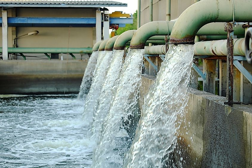 Hot water from industry released into local water body. Image credit: ToptoDown/Shutterstock.com