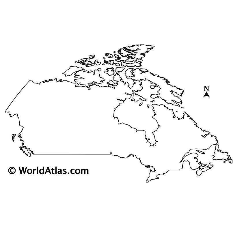 Blank outline map of Canada