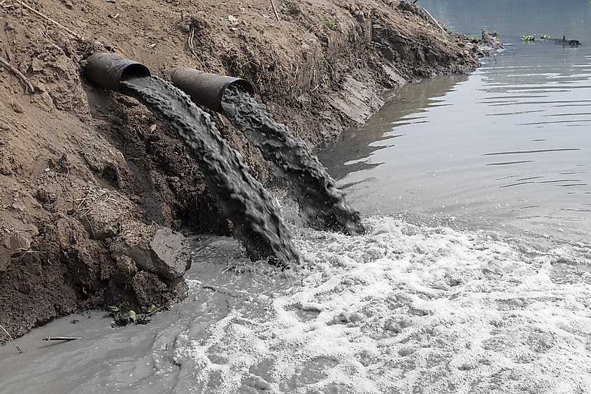 Untreated industrial effluents entering water. Image credit: Toa55/Shutterstock.com