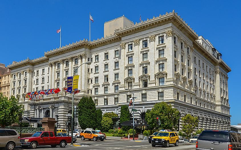The Fairmont hotel in San Francisco. San Francisco has some of the most expensive hotel rooms in the world. Editorial credit: jejim / Shutterstock.com.