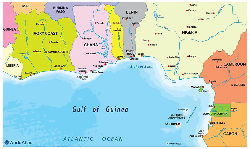 Map showing the Gulf of Guinea