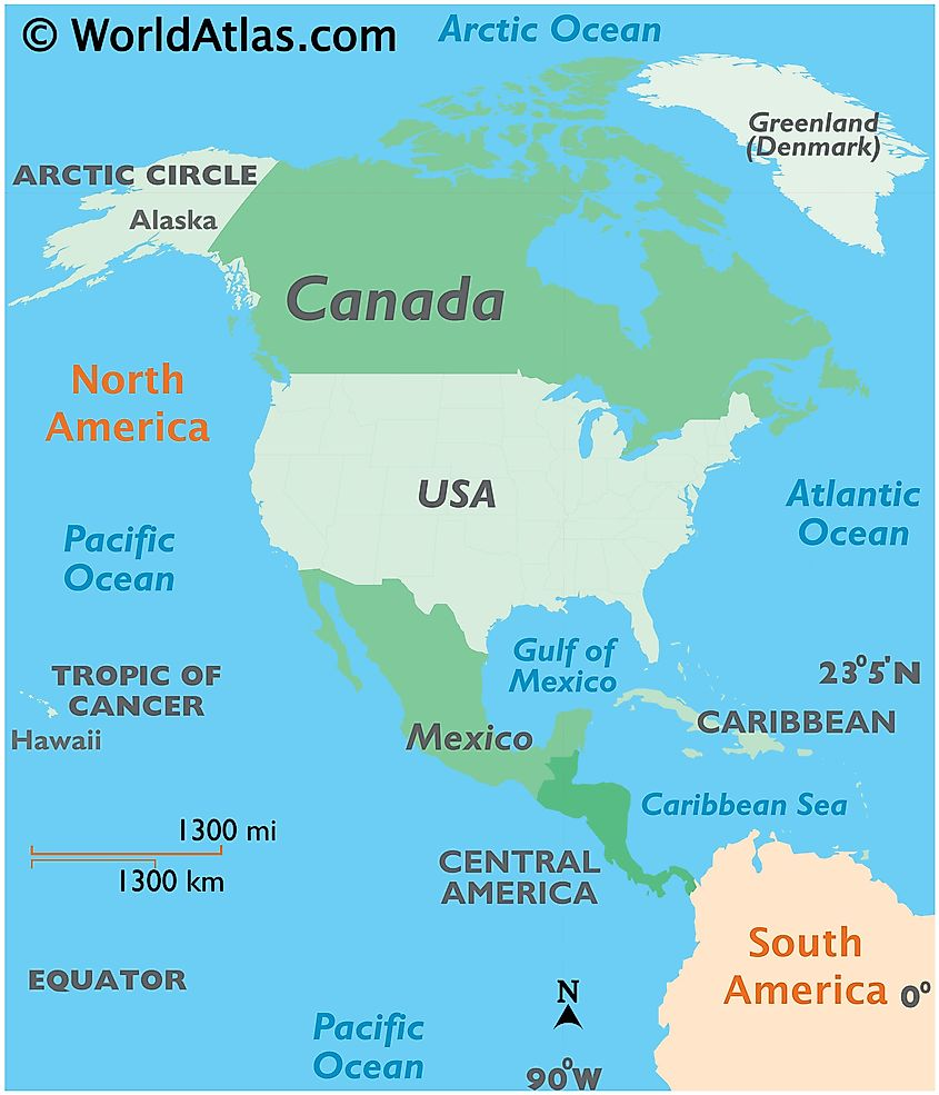 Map showing location of Canada in the world.