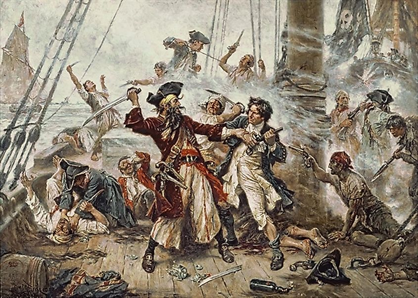 More details Capture of the Pirate, Blackbeard, 1718, Jean Leon Gerome Ferris, painted in 1920. Image credit: Jean Leon Gerome Ferris/Public domain