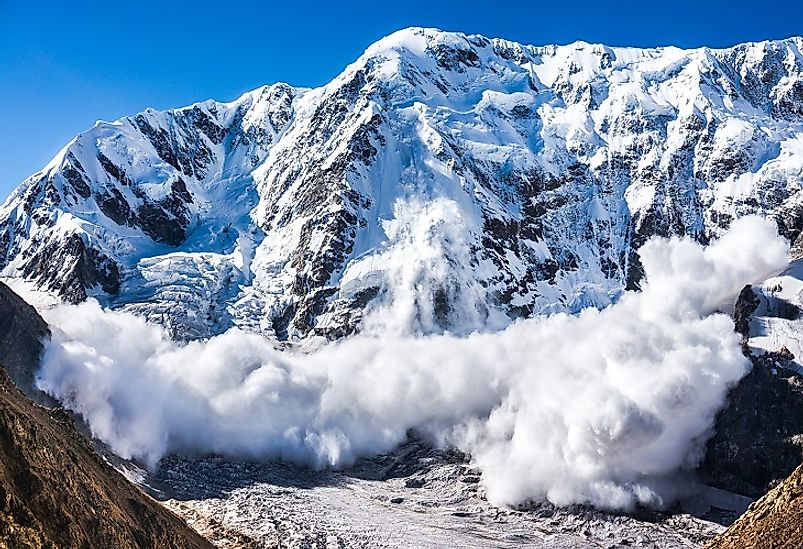 Snow speeds down the slopes of these mountains in the Caucasus Region of Russia.