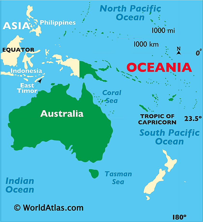 Map showing location of Australia in the world.