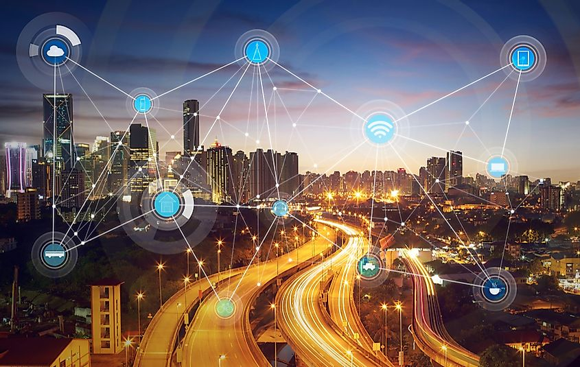 A smart city incorporates technology into its functioning.