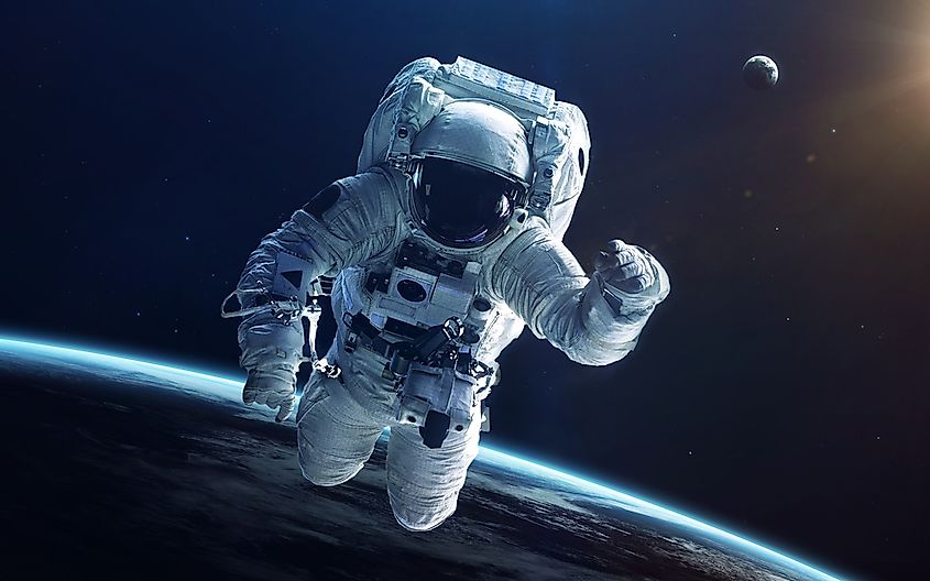An astronaut in deep space.