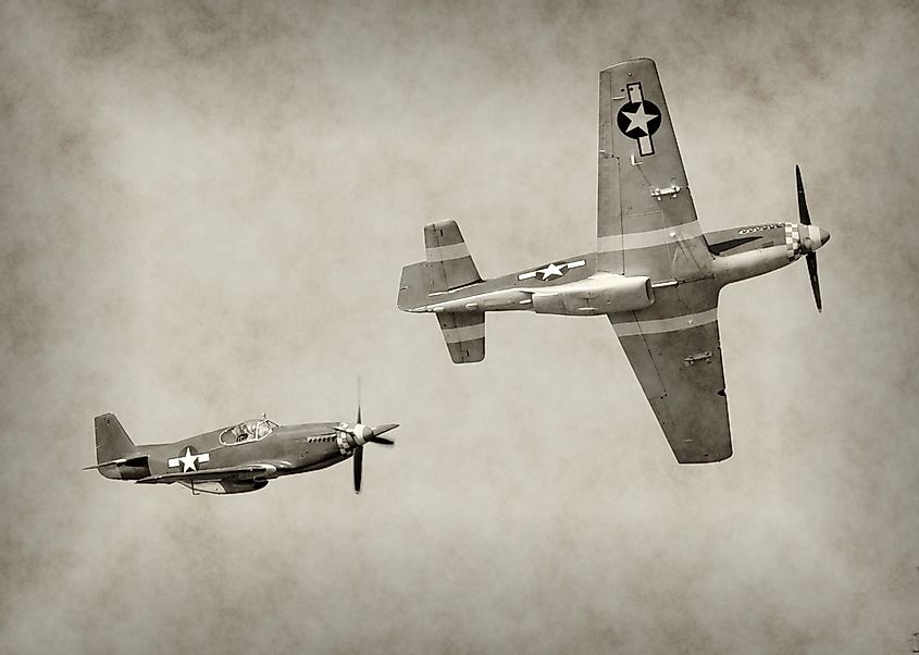World War II fighter airplanes in flight