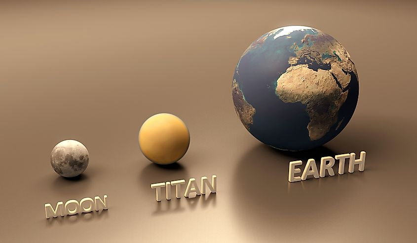 Comparison of the Moon, Titan, and the Earth.