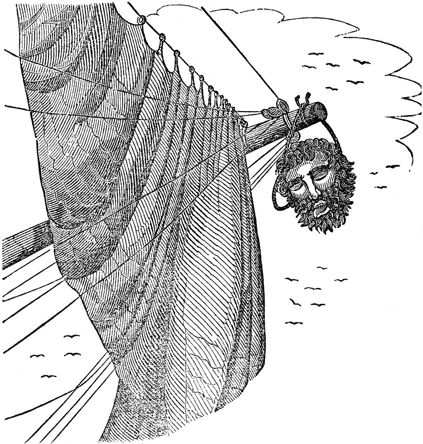Edward Teach's severed head hangs from Maynard's bowsprit, as pictured in Charles Elles's The Pirates Own Book (1837).