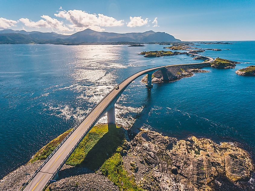 Aerial drone shot of the world famous Atlantic Road in Norway. Image credit: Dmitry Tkachenko Photo/Shutterstock.com