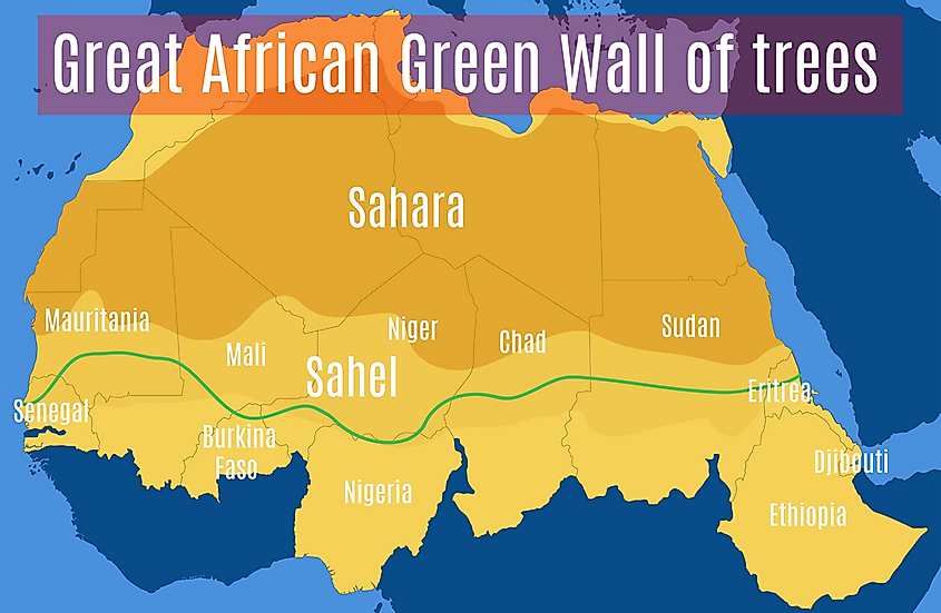 The Great African Green Wall of the Sahara and the Sahel.