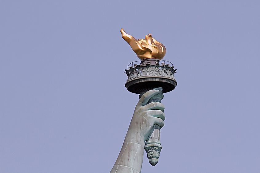 The torch of the Statue of Liberty.