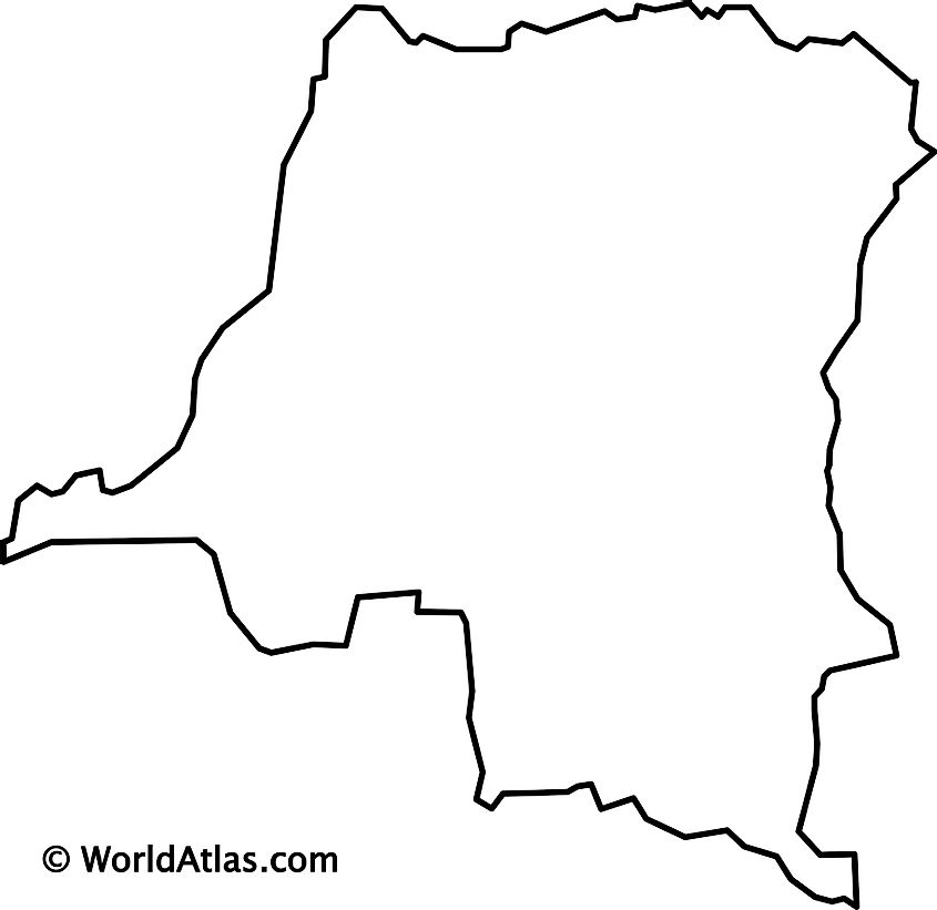 Blank outline map of the Democratic Republic of Congo