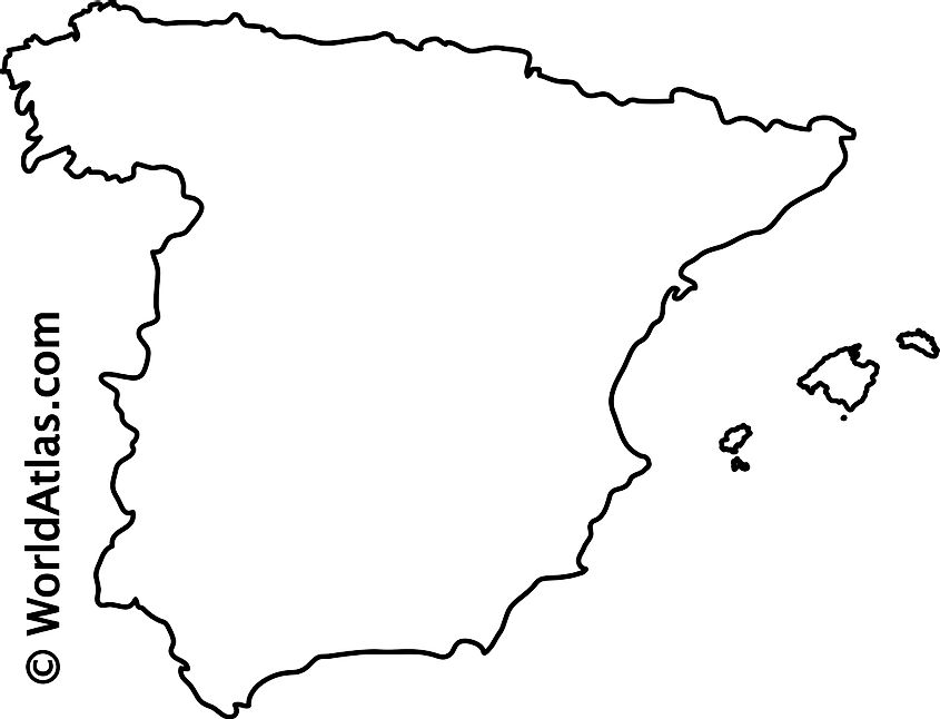 Blank Outline Map of Spain