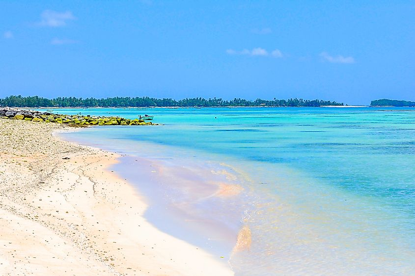The low lying beaches of Tuvalu.