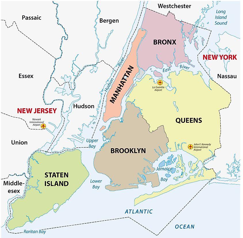 Map manhattan brooklyn New York