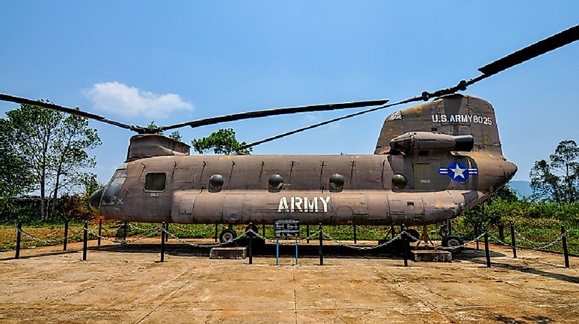 Today, the site of the Battle of Khe Sanh is a combat musuem, with displays of items, such as this U.S. Army Chinook helicopter, used in combat there.