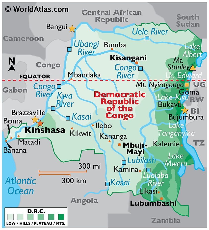 Physical Map of the Democratic Republic of Congo with state boundaries, relief, major lakes, mountains, extreme points, major cities, and rivers.