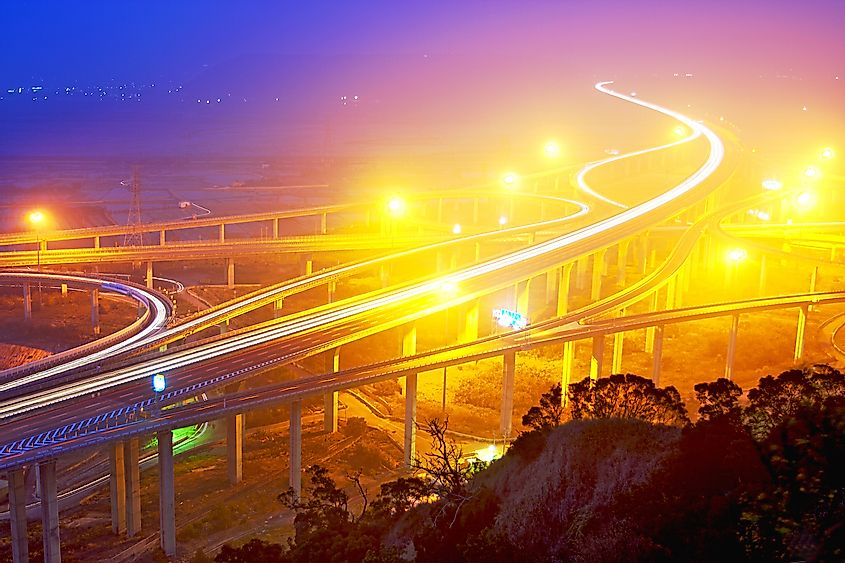 Bright lights on the highway in Taiwan create light pollution affecting wildlife. Image credit: PhotonCatcher/Shutterstock.com