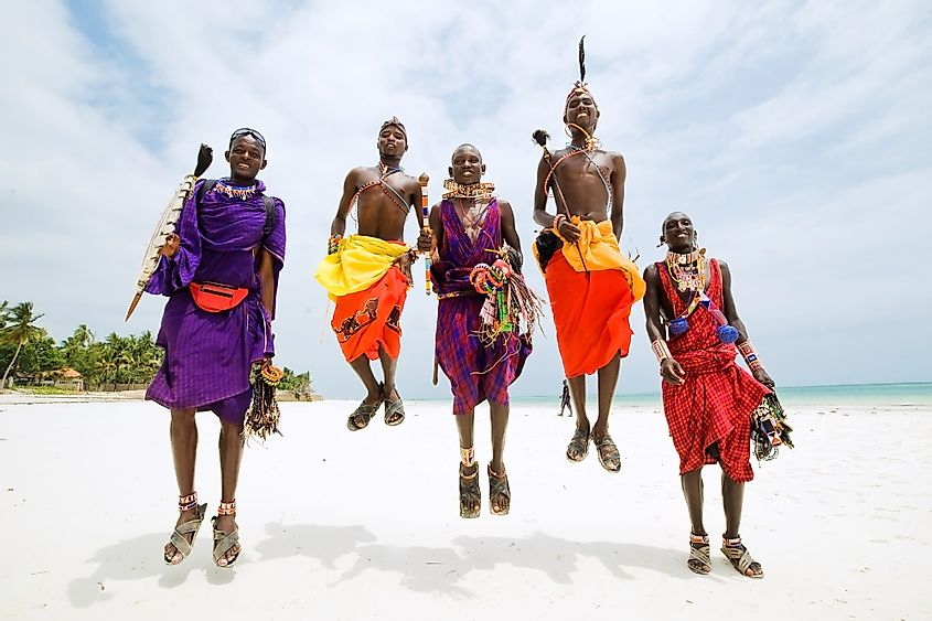 The Maasai people of southern and central Kenya and northern Tanzania are famous for their jumping dance known as aduma. Editorial credit: Juliya Shangarey / Shutterstock.com