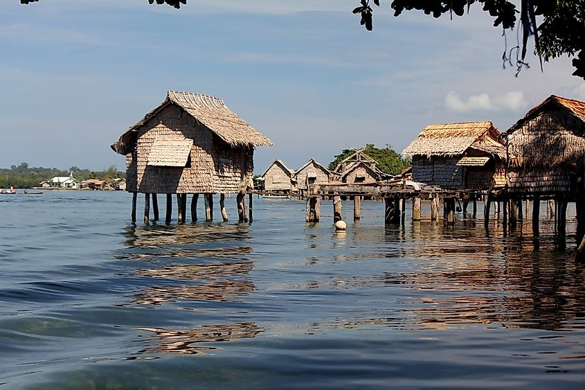 Houses on stilts in the Solomon Islands.
