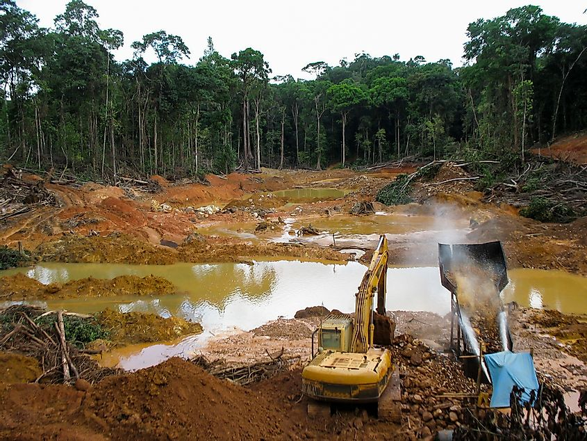 Rainforest destruction. Gold mining place in Guyana, South America.