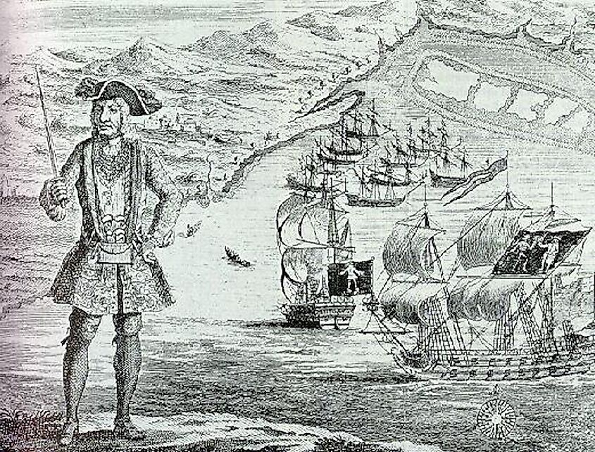 Bartholomew Roberts with his ship and captured merchant ships in the background. Image credit: Engraved by Benjamin Cole (1695–1766)/Public domain