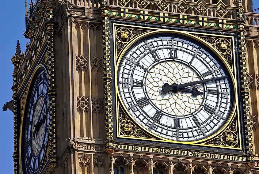 The clock face of Big Ben in London.