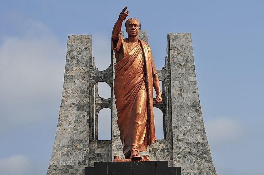 Statue of Kwame Nkrumah, Ghana's first President, who coined the term neo-colonialism.