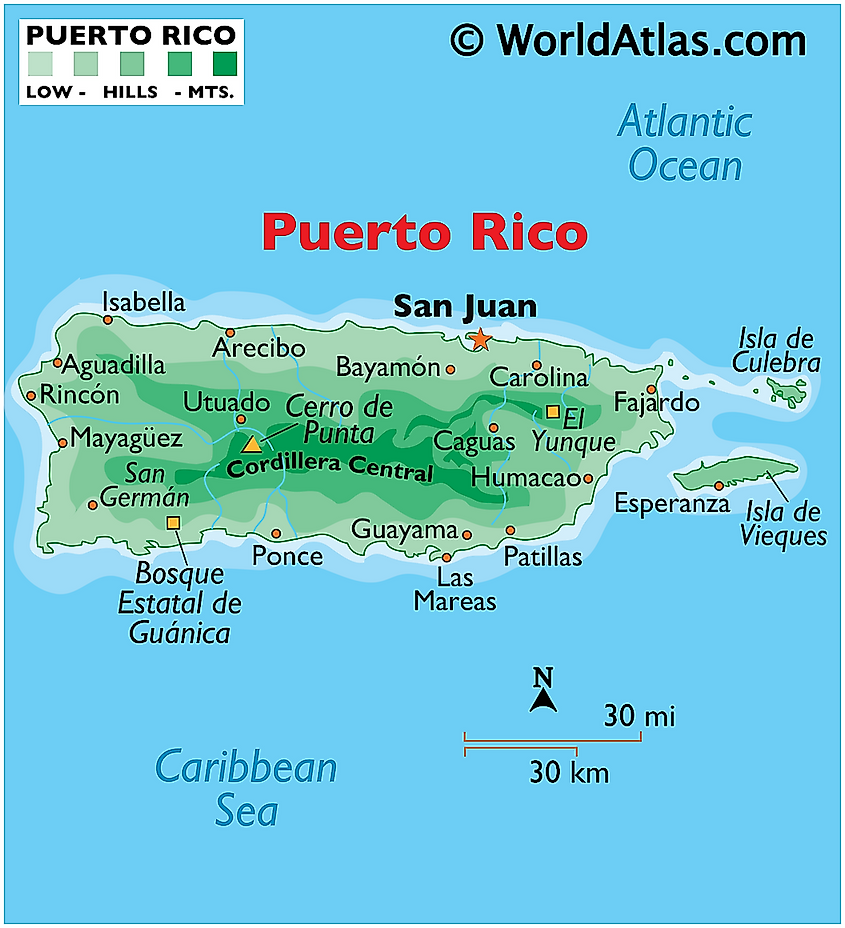 Physical map of puerto rico