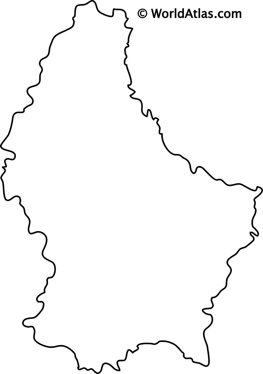Blank Outline Map of Luxembourg