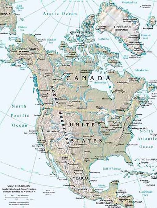 north america totpgraphical map