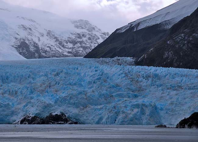 chile, amalia glacier, blue ice