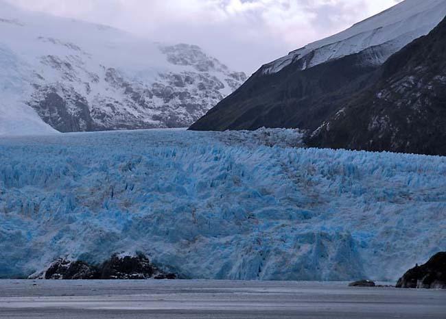 chile, amalia glacier, blue ice