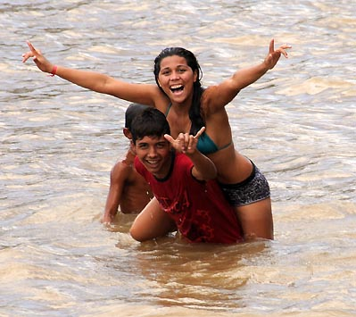 brazil, amazon river, swimmers