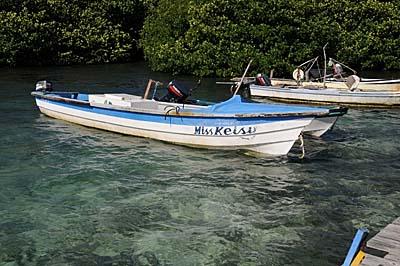 colombia, isla de providencia, small boat