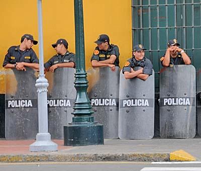 peru, lima, riot police