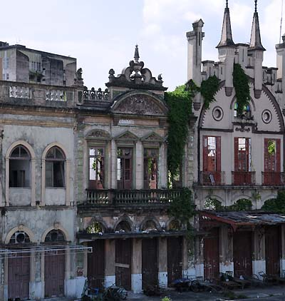 brazil, manaus, abandoned waterfront buildings