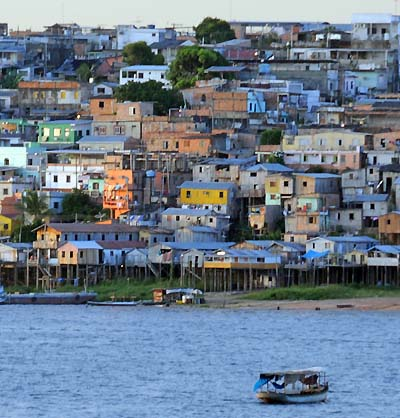 brazil, manaus, waterfront houses