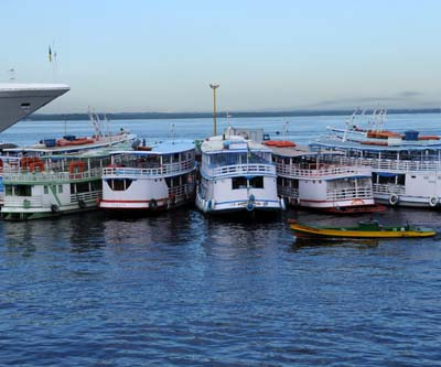 brazil, manaus, colorful ferries