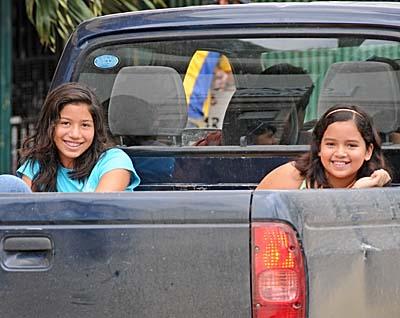 ecuador, manta, girls in a truck