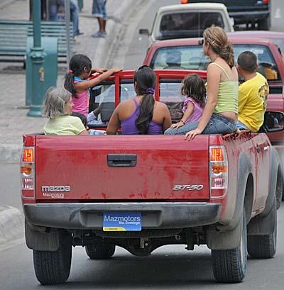 ecuador, manta, people in a truck