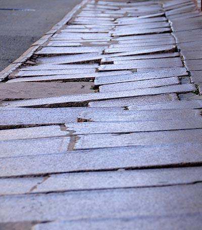 uruguay, montevideo, cobblestone pathways