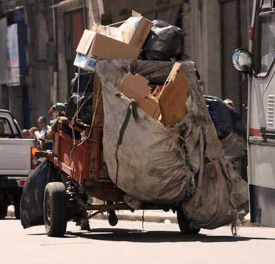 uruguay, montevideo, mule drawn cart