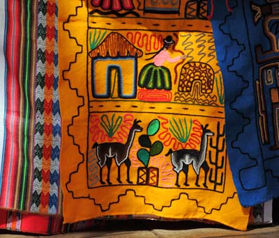 chile, punta arenas, colorful blankets