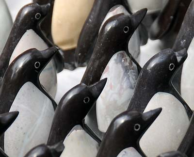 chile, punta arenas, wooden penguins