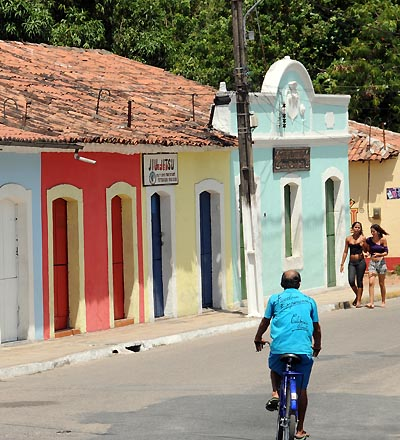 brazil, recife, colorful igarassu buildings