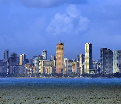 brazil, recife, sunset skyline