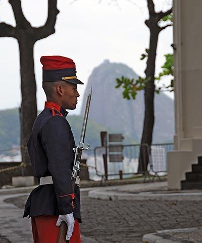 brazil, rio de janeiro, fort copacabana guard